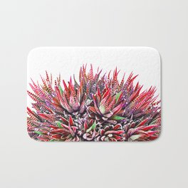 Cactus Crown 1. Red & Green on White #decor #Christmas Bath Mat