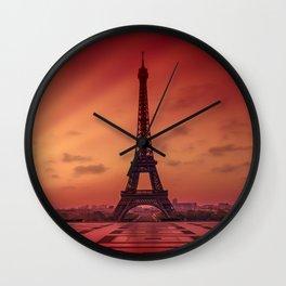Eiffel Tower at Sunrise Wall Clock