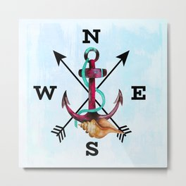 Watercolor Anchor Seashell Arrows and NSEW Metal Print