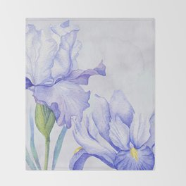 Watercolor Iris Throw Blanket