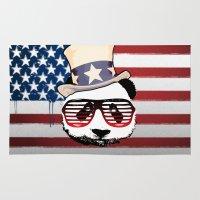 patriotic Area & Throw Rugs featuring Patriotic Panda by crayzeestuff