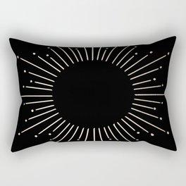 Sunburst White Gold Sands on Black Rectangular Pillow