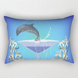 Dolphin jumping out of a glass  Rectangular Pillow