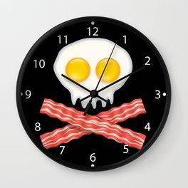 Skull With Crossed Bacon  Skull Bacon Eggs Wall Clock