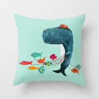 fish Throw Pillows featuring My Pet Fish by Picomodi