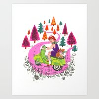 Vespa Girl Art Print
