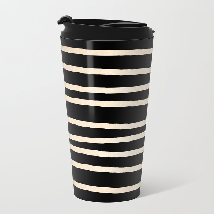 Simply Drawn Stripes White Gold Sands on Midnight Black Metal Travel Mug