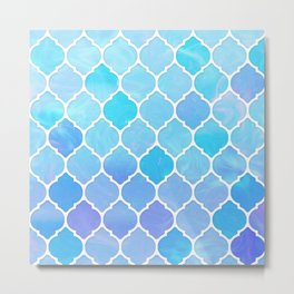 Blue and purple glass Moroccan print Metal Print