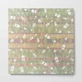White Rustic Boho Arrows Metal Print