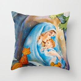 Un bébé avec sa mère... Throw Pillow
