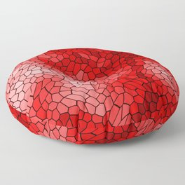 Stained glass texture of snake red leather with bright heat spots. Floor Pillow