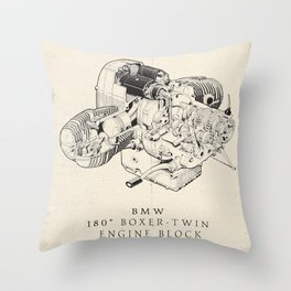 Boxer-twin engine, technical drawing, motorcycle print, vintage garage poster, man cave wall art Throw Pillow