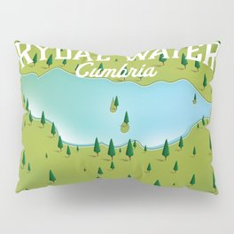 Rydal Water Cumbria Travel map Pillow Sham