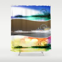 santa monica Shower Curtains featuring Santa Monica Pier Tricolor by Christine aka stine1