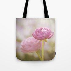 Pink floral Ranunculus flowers in love Tote Bag
