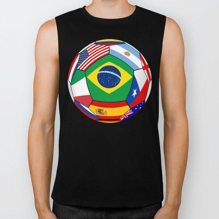 Ball With Various Flags Biker Tank