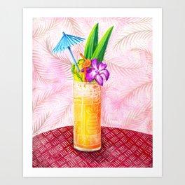 Tiki Drinks no.1 - gouache painting Art Print