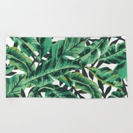 Tropical Glam Banana Leaf Print Beach Towel