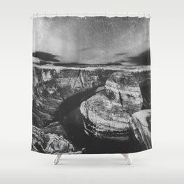 Southwest Starry Night Black and White Shower Curtain