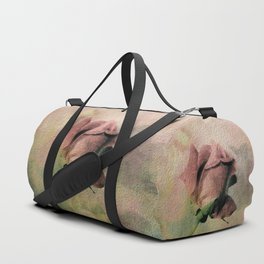 Painterly Pink Rose Bud Duffle Bag