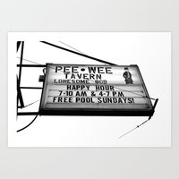 pee wee Art Prints featuring Pee Wee tavern sign by Vorona Photography