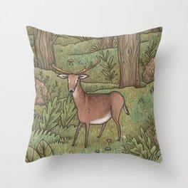 Deer in Woodland Throw Pillow