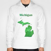 michigan Hoodies featuring Michigan Map by Roger Wedegis