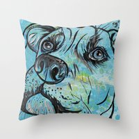 pit bull Throw Pillows featuring Blue Pit Bull Dog by WOOF Factory