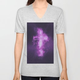 Eight music note symbol. Abstract night sky background Unisex V-Neck