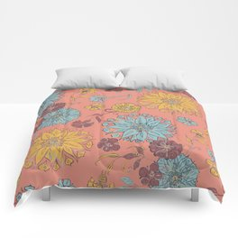 Multi-Florals Coral, Yellow & Blue Comforters