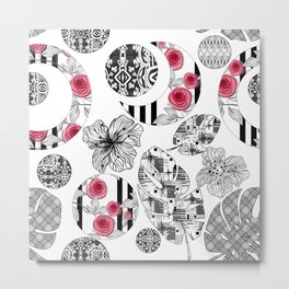 Red and Black Quilting Patchwork Rustic Modern Elegant Style Metal Print