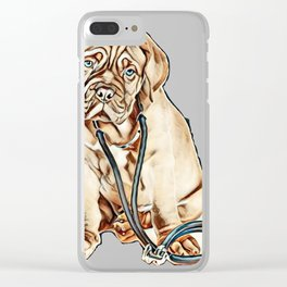 Puppy with stethoscope on his neck looking at camera. isolated on white background        - Image Clear iPhone Case