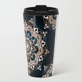 Glowing Spirit Mandala Blue White Travel Mug