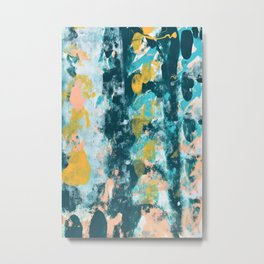 026.3: a vibrant abstract design in teal peach and yellow by Alyssa Hamilton Art Metal Print