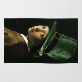 Girl With A Shamrock Earring Rug