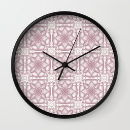 Pink Lavender Flowery Check Wall Clock