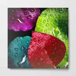 Colorful Leaves & Water Drops Abstract Metal Print