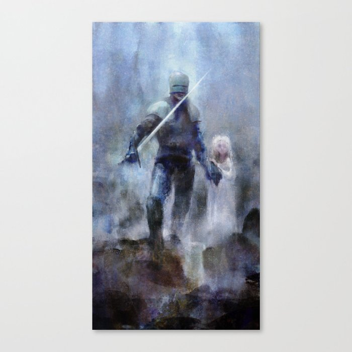 Knight and Girl Canvas Print