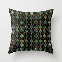 Endless Knot Pattern - Gold and Marble Throw Pillow