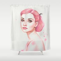 audrey hepburn Shower Curtains featuring Audrey Hepburn by Black Fury
