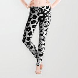 Zentangle Pattern   Black and white Leggings