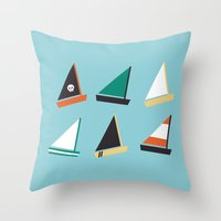 boats Throw Pillows featuring Boats by CaptainChrisP