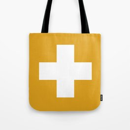 Swiss Cross Mustard Tote Bag