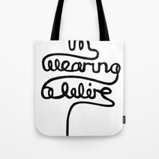 wearing a wire Tote Bag