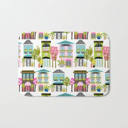 Boutiques and Downtown Buildings by Karen Fields Bath Mat