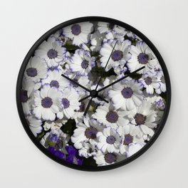 Cineraria White and Purple Wall Clock
