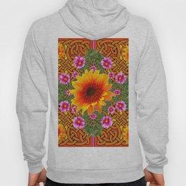 Celtic Fuchsia Green Sunflowers Dahlias Art Design Hoody