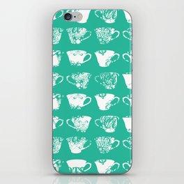 Aqua Teacups iPhone Skin