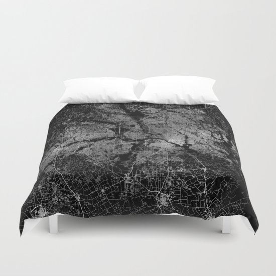 Dallas map Texas Duvet Cover