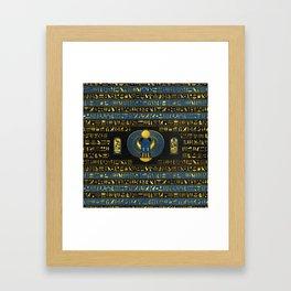 Golden Egyptian Scarab Ornament on  leather Framed Art Print